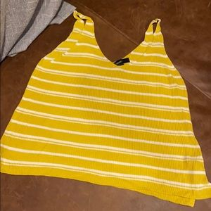 Yellow striped tank top forever 21 large new